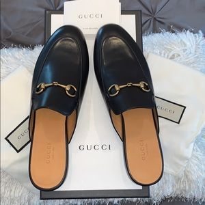 Gucci Princetown Black Leather Mules